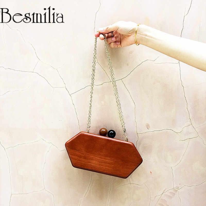 74099ff30a Vintage Style Wood Clutch Evening Bag Chain Shoulder Cross Body Bag Mini  Ladies Handbag Messenger Party