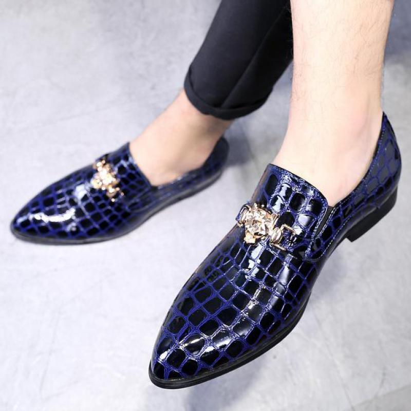 38~48 Plus Size Mens Leather Shoes Crocodile Pattern Slip On Dress Shoes Men Loafers Pointed Toe British Formal Wedding Shoe