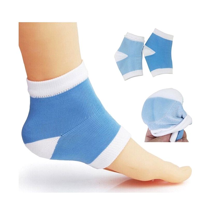 SPA Silicone Gel Heel Socks Foot Skin Moisturing Feet Care Sock Insole for Cracked Heel Foot Health Care Sky Blue/Pink Men Women