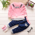 Fashion baby girls clothing sets casual cotton long sleeve Embroidered LOVE pullover + jeans Korean Style kids clothes for boys