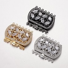 2 sets Brass Cubic Zirconia Box Clasps Rectangle DIY Jewelry Accessories Component Mixed Color 34x43x9mm Hole:1.5 & 2.5mm