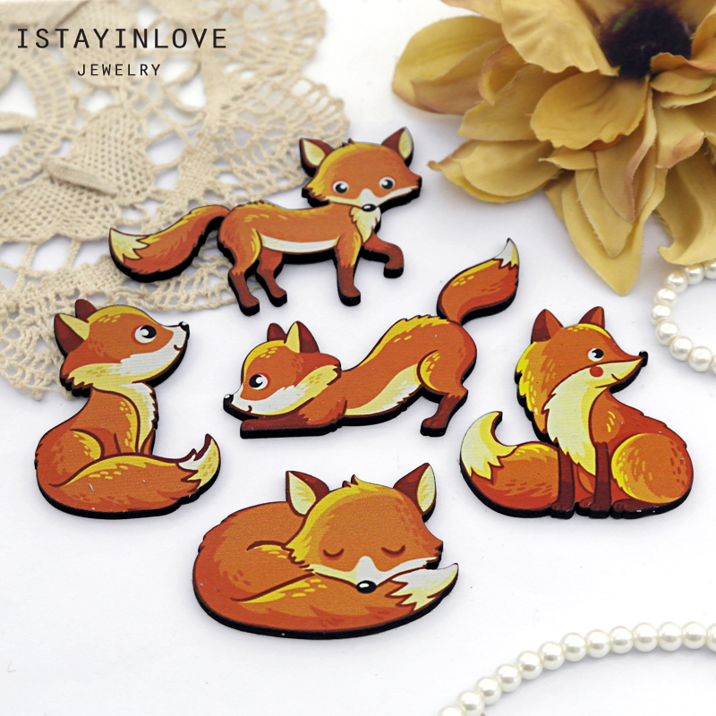 Wooden Skull Act Various Cute Charms Handmade Laser Cut Wood Animals Pendants Fit for Necklace Earrings Brooch CW103-D