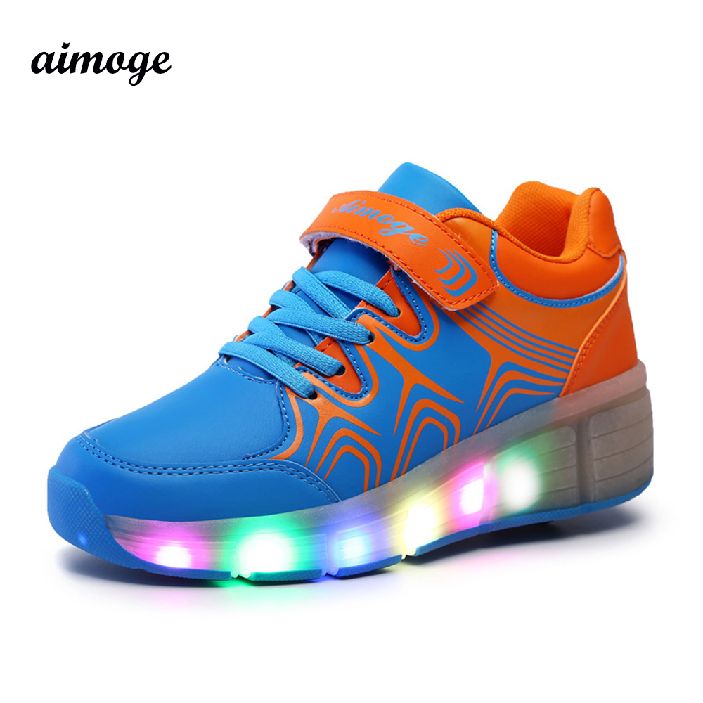 Roller shoes canada - Boy Girl Led Heelys Children Roller Shoes Sneakers With Wheel Automatic Led Lighted Flashing Roller Skates