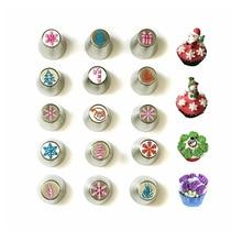 Set of 15,Christmas Nozzles Icing Tips Cupcake Decor Kitchen Baking Tool Cake Decorating Tools