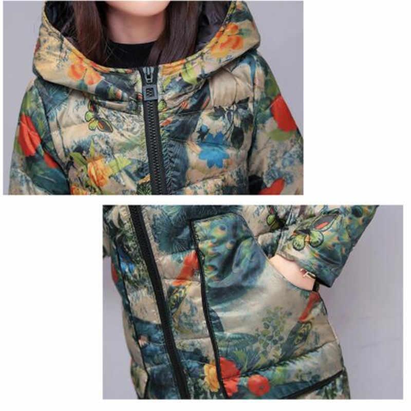 2018 зимнее 80% белое пуховое пальто Женская парка модная с капюшоном с принтом Длинная Верхняя одежда размера плюс тонкий теплый женский пуховик
