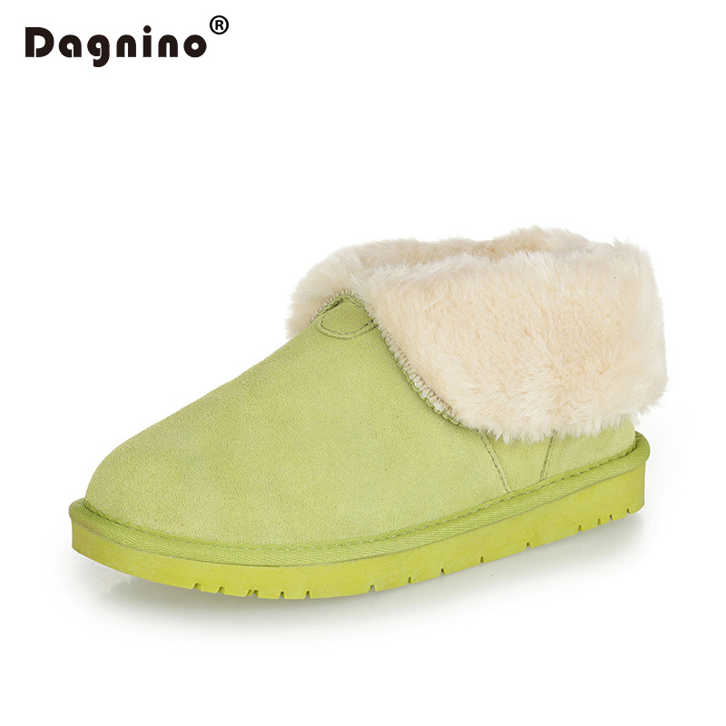 DAGNINO New Brand Femme High Quality Genuine Cowhide Leather Snow Boots Women Winter Warm Turned-over Edge Ankle Shoes Feminino