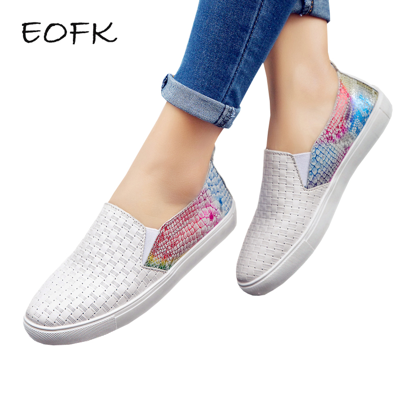 EOFK Women Flats Loafers Leather Shoes Woman Loafer Patchwork Fashion Autumn Slip On Casual Shoes For Women Moccasins F 2018 autumn new vintage casual handmade shoes woman flats genuine leather fashion women shoes slip on women s loafers moccasins