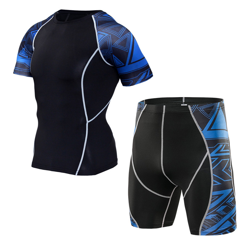 newest collection a6ed5 828f2 US $15.65 42% OFF|MMA combat compressions tights shorts T shirt set Gym  Clothing Brand jogging men shorts set Cycling tracksuit psg training 4XL-in  ...
