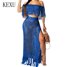 KEXU Summer Hollow Out Fashion Grid Tassel Perspective Two-piece Dress Elegant Off Shoulder Knitting Crochet Beach Party