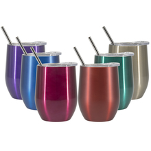 2PCS 9OZ Stainless Steel Tumbler Wine Cups Vacuum Insulated Thermos Beer Tea Coffee Mugs Tumber with Straws