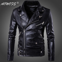 2018 New design Motorcycle Bomber Leather Jacket Men Autumn Turn down Collar Slim fit Male Leather Jacket Coats Plus Size M 5XL
