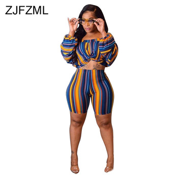 Colorful Striped Sexy 2 Piece Outfits For Women Slash Neck Puff Sleeve Crop Top And  Skinny Shorts Casual Plus Size Matching Set plus embroidered square neck striped top