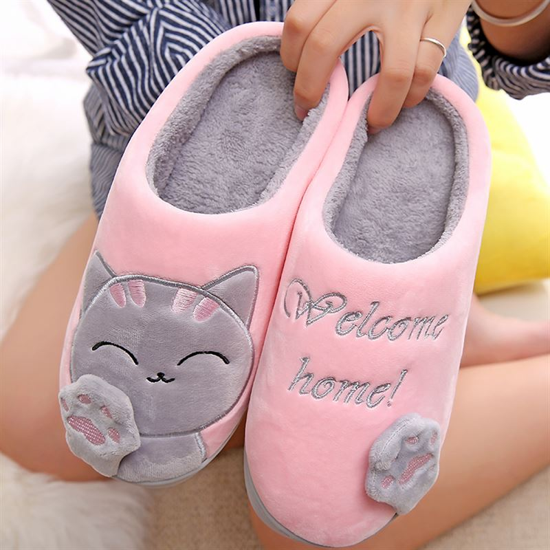 Women Slippers 3D Embroidery Cat Winter Warm Plush Shoes Women Home Slippers Indoor/Outdoor House Fur Couples Lovers Memory formWomen Slippers 3D Embroidery Cat Winter Warm Plush Shoes Women Home Slippers Indoor/Outdoor House Fur Couples Lovers Memory form