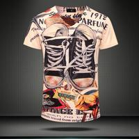 Vintage Shoes 3D Printed T Shirts 2015 Fashion Design Blouses Brand Top Tees Summer Short Sleeve