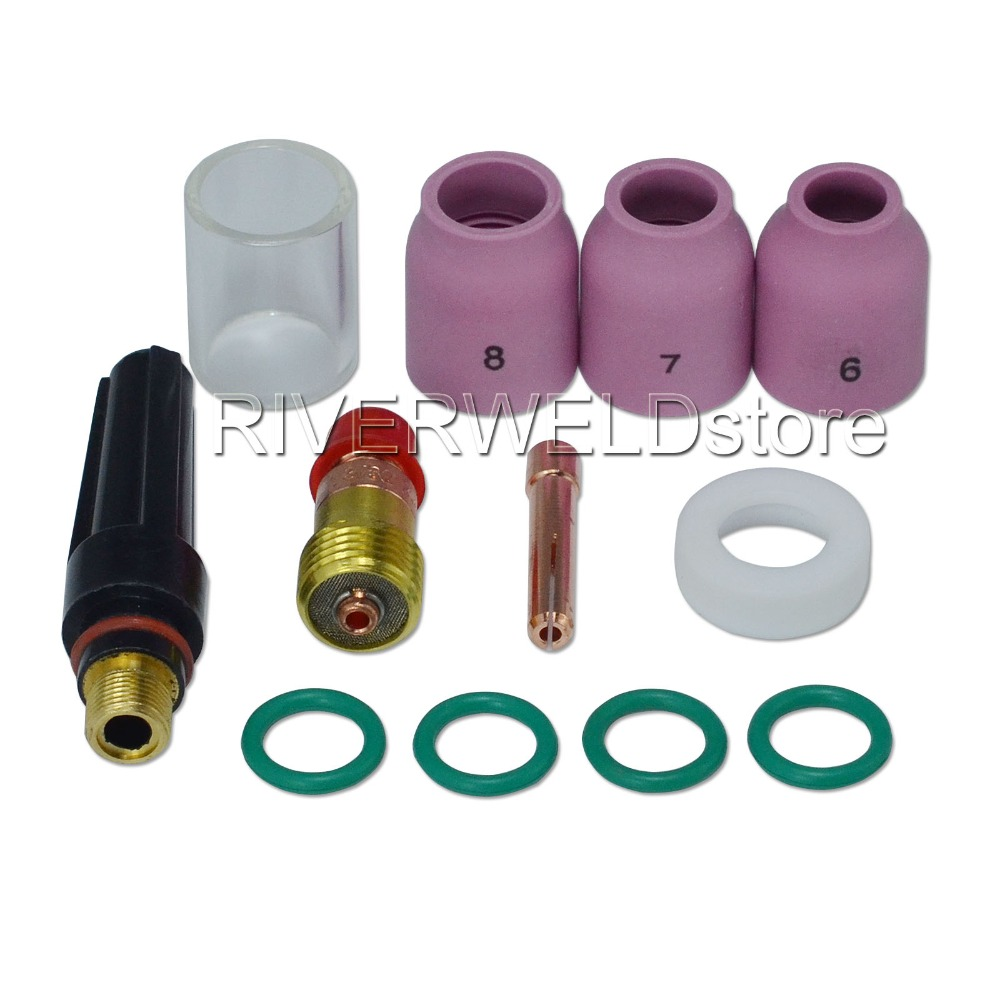 12PCS TIG KIT Alumina Nozzle Stubby Collet Body Gas Lens 17GL332 3/32 2.4mm #10 Pyrex Cup For TIG Welding WP 17 18 26 Series light weight djk35 50 9mm quick gas connector silica gel soft wp 26 wp 26 tig 26 tig torch complete 8m 12feet 26 series