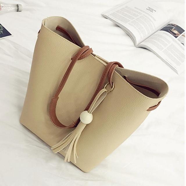4Pcs/Set Women Faux Leather Handbag Shoulder Bag Tote Purse Messenger Handbag bag for women 2018 1