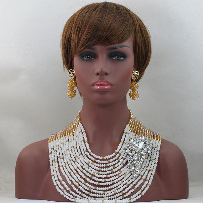 Latest Cream White and Gold Dubai Women Bridal Crystal Jewelry Set 15 Layers Full Nigerian African Jewelry Free Shipping HX639Latest Cream White and Gold Dubai Women Bridal Crystal Jewelry Set 15 Layers Full Nigerian African Jewelry Free Shipping HX639