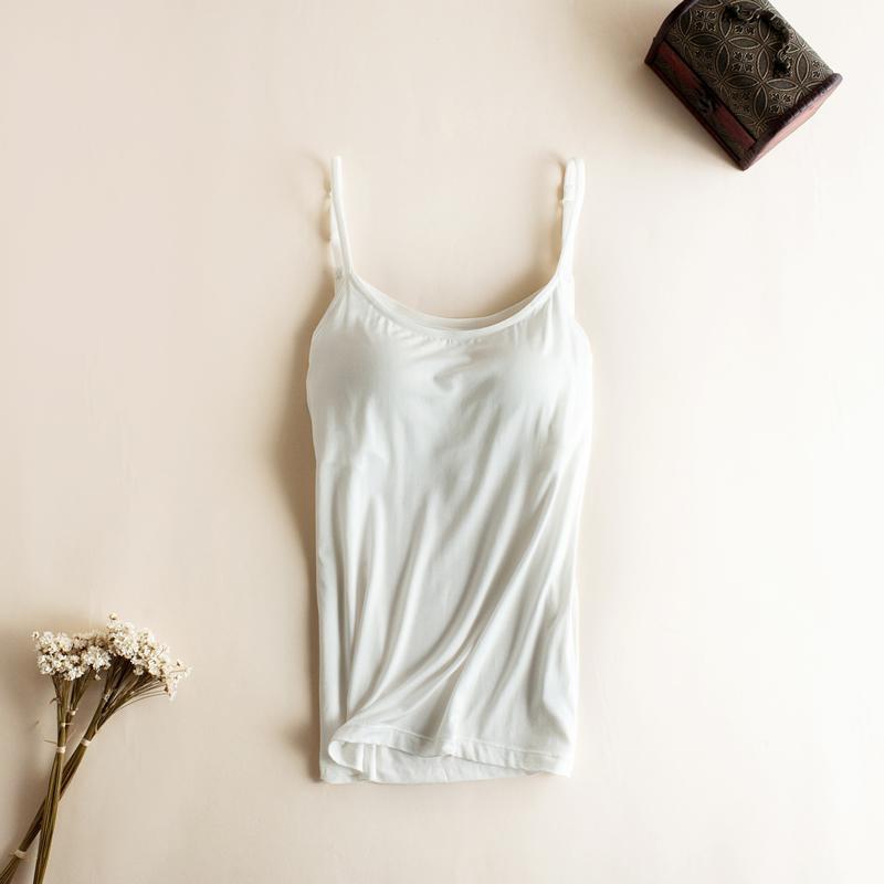 d3258905bd8 US $9.88 10% OFF|Bh Tank Top Vrouwen Modale Spaghetti Hemdje met ingebouwde  bh Solid Cami Top vrouwelijke Tops Vest Fitness kleding-in Blouse van ...