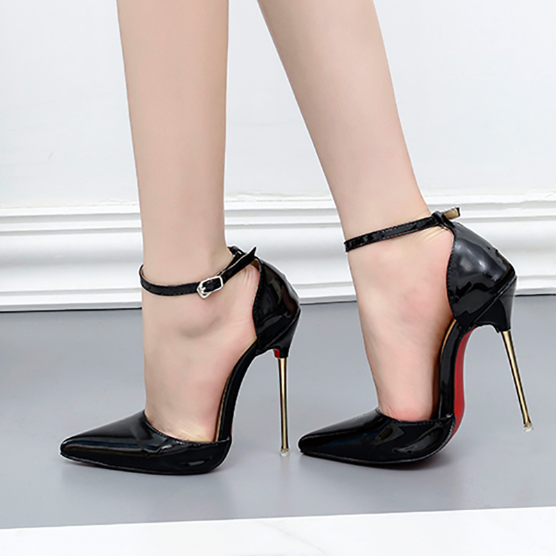 Women Summer Shoes Pumps Sexy 13cm High Heels Sandals Buckle Strap Red Bottom Pointed Toe Shoes Glossy Metal Party Ladies Shoes women pointed toe buckle thin high heels red bottom sandals shoes t strap print leather plus size lady sandals 42 51 sxq0710
