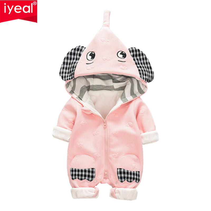 IYEAL Warm Baby Boy Rompers Winter Baby Clothing for Newborns Cute Hooded Elephant Baby Overalls Jumpsuits Boy Girl Clothes tribros winter style baby clothes baby girl boy clothes cute bear hoodie thicken jumpsuits baby costume coveralls rompers