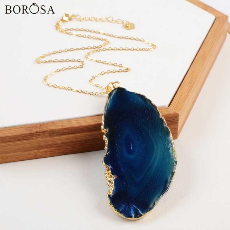BOROSA Freeform ย้อมสีนิลธรรมชาติ Agates Druzy Geode Slice จี้สร้อยคอเครื่องประดับ Bohemian CL161