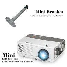 CAIWEI LED Mini Home Theater Projector HD 1080p Game Movie Small LCD Proyecter Portable Beamer Desktop Beamer with mini bracket