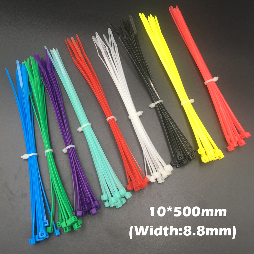 100pcs 10x500 10*500mm (8.8mm Width) Black White Nylon66 Network Electric Wire String Zip Fastener Self-Locking Cable Tie