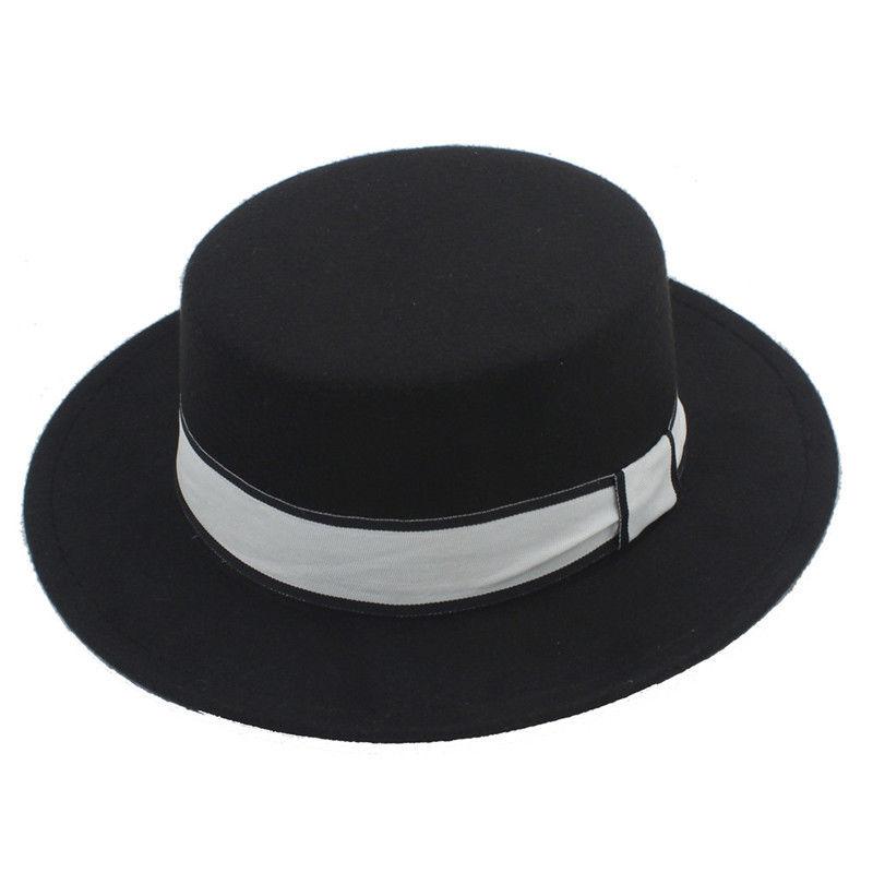 0b3e48656ae Mistdawn Women Men Wool Blend Boater Hat Wide Brim Pork Pie Caps Flat Top  Hats White Ribbon Band Size56-58cm