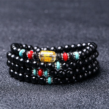 Factory Direct Natural Black Stone 108 A Six Word Motto Ten Thousand Beads More Circle Bracelet Hand String Crystal Wholesale jiuduo natural colorful amber beeswax bracelet hand with women identification design factory direct special package mail