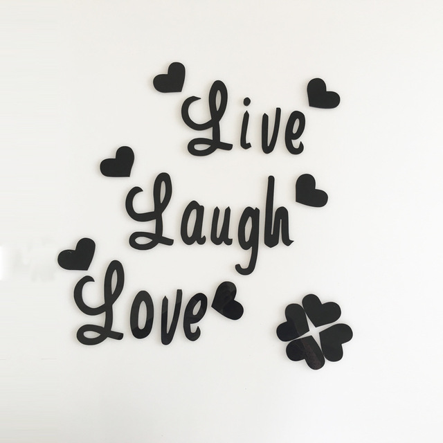 Live Love Laugh Quote Wall Sticker Quotes Acrylic Reflective Sticker Wall  Decals Wallpaper Poster Mirror Wall