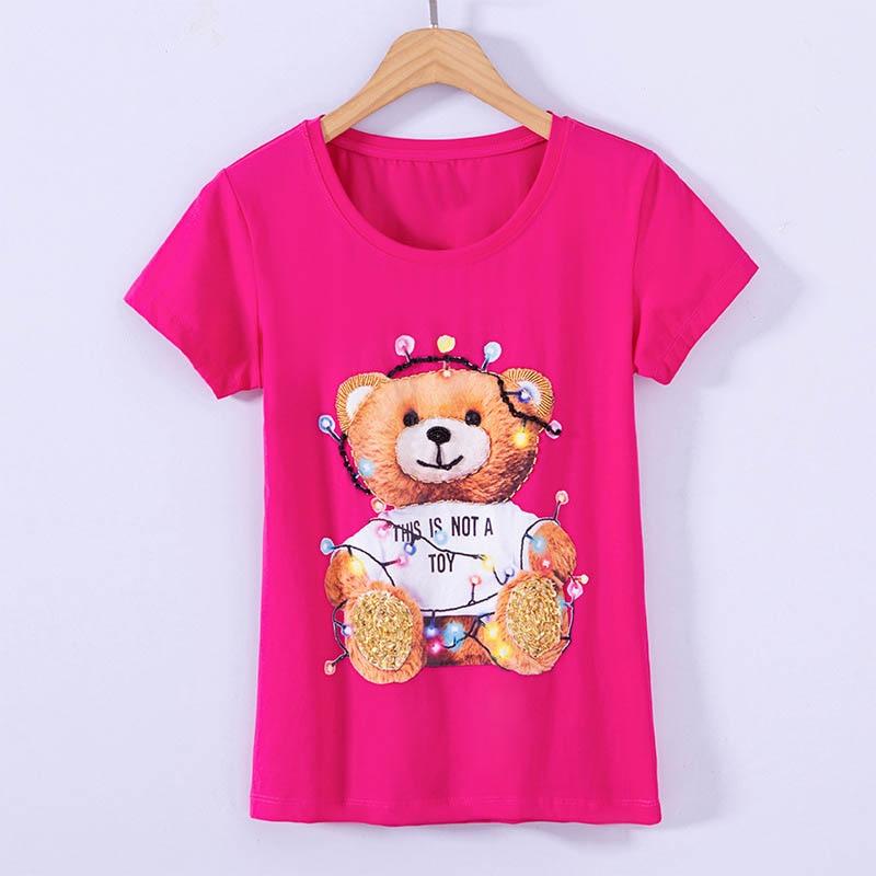 Luxury Short Sleeve O-Neck T-Shirt Beading Cute Cartoon Bear Pattern Pullovers Cotton T Shirts Women Tops For Girls Summer Fall