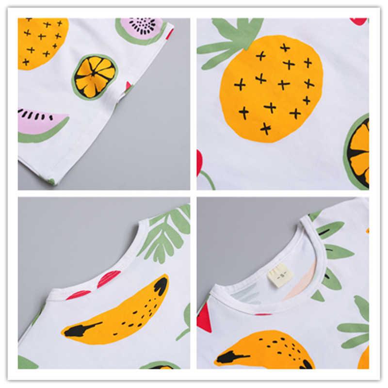 Bebé niño ropa de verano conjunto para el niño niños ropa de dibujos animados fruta impreso manga corta Camiseta + pantalones traje de niño de 1, 2, 3, 4 años
