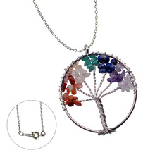 Natural Stone Necklace Pendant Tree Of Life Wire Wrapped Chip Semi Precious Stone Necklace Pendant Women Rainbow 7 Chakra Amethy