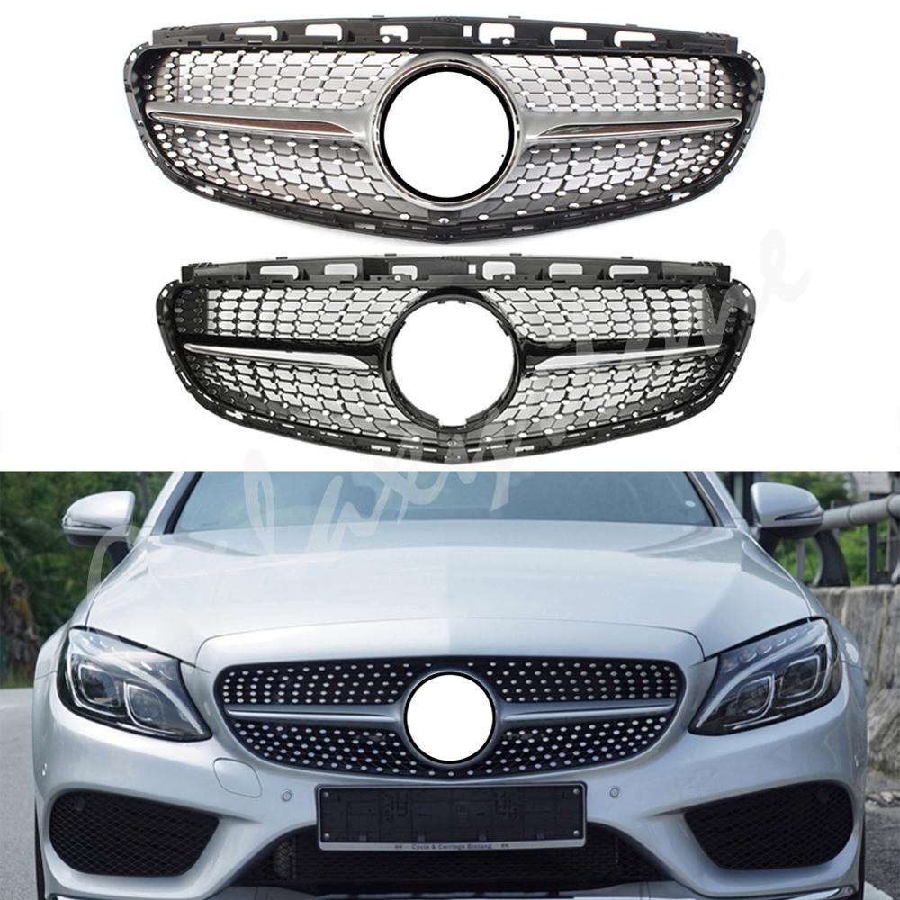 Fit For <font><b>Mercedes</b></font> Benz E Class <font><b>W212</b></font> Diamond Style Design Silver Front <font><b>Grille</b></font> 2014 2015 2016 image