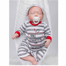 Newborn Babies Dolls Silicone Realistic Toy 20 Inch Sleeping Lifelike Doll Boy Cloth Body Baby With Romper Kids Birthday Gift