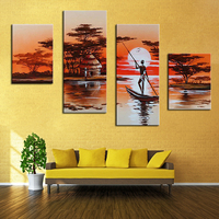 Modern African Life Oil Paintings African Landscape Canvas Painting Hand Painted Wall Art Picture On Canvas for Bedroom Decor