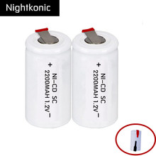 Original 2 pcs/lot SC battery 2200mAh rechargeable subc battery replacement 1.2 v with tab  for makita NIGHTKONIC