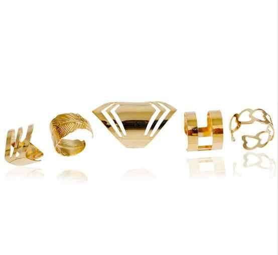 2017 nova alta qualidade liga de zinco cor ouro anel conjunto para 5 pçs moda meninas presente jóias bijoux europa popular estilo conjunto anel