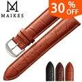MAIKES HQ pulseiras de couro genuíno strap watch acessórios 16mm 18mm 20mm 22mm 24mm men & women brown Watch Band Para casio