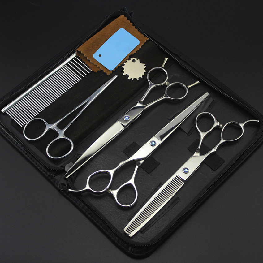 5 kit Professional left handed pet 7 inch shears dog grooming cutting hair scissors thinning curved barber hairdressing scissors 4 kit professional 8 inch pink pet grooming shears cutting hair scissors case dog grooming thinning barber hairdressing scissors