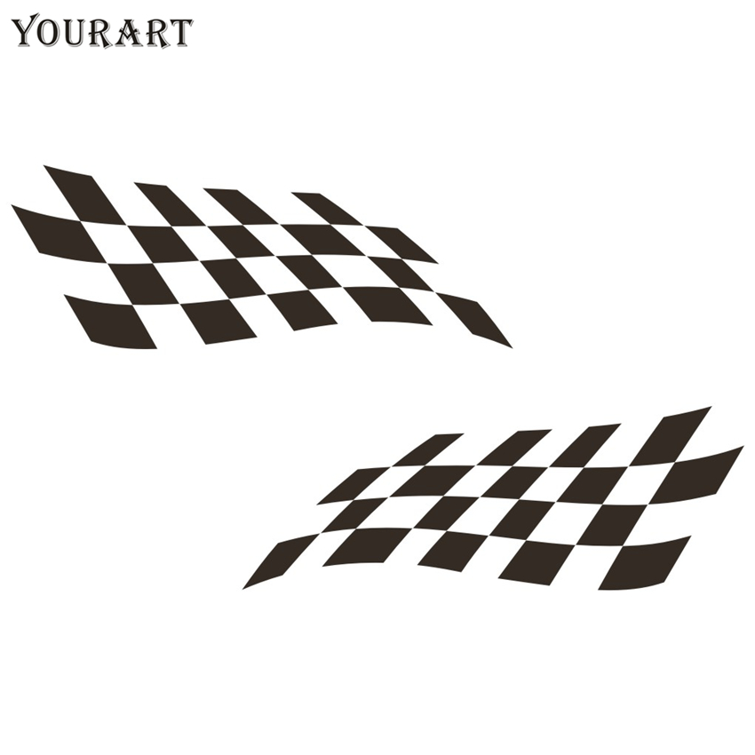 Checkered Flag VW >> Us 2 99 Yourart Sport Racing Flag Stickers For Cars Rearview Mirrors Checkered Flag Vinyl Decal Sticker Car Decoration For Ford Focus Vw In Car