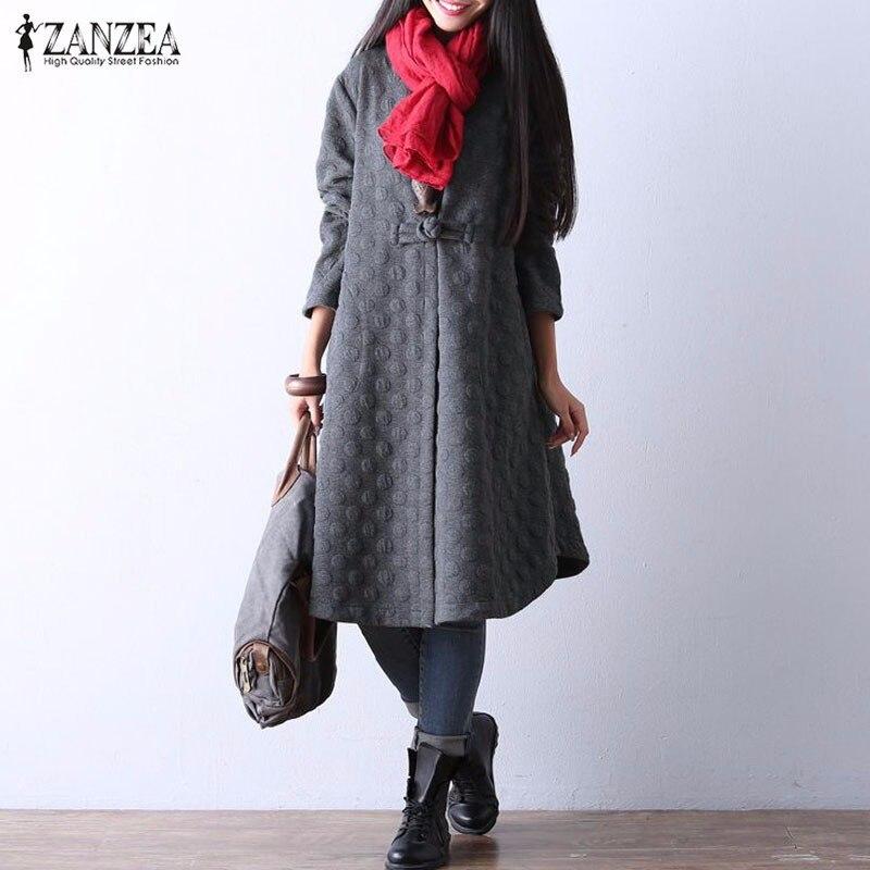 2017 zanzea mujeres retro midi dress venta caliente de manga larga floja atracti