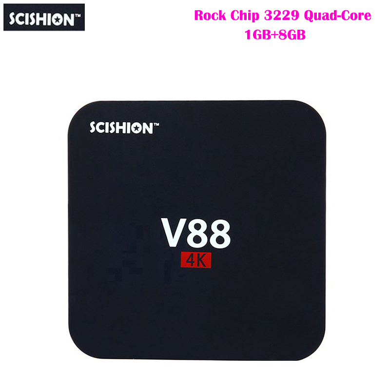 SCISHION V88 Android TV Box RK3229 Quad-Core CPU 1G+8G 4K movies WIFI 3D Movie smart media player Support 4 X USB SD Card Slot