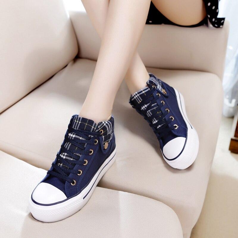 Toile 2018 Femmes Sport Nouvelle Pour Noir Coréenne Casual Version Tous Toile Bas Types rouge Mode Les bleu Automne De Augmenter Chaussures Épais CACqz