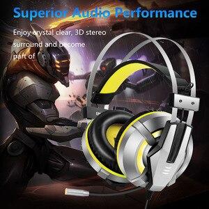 Image 5 - Eksa e800 gamer fone de ouvido macio earpads sobre a orelha gaming headset azul amarelo fones de ouvido com girar mic led luz para ps4 pc xbox