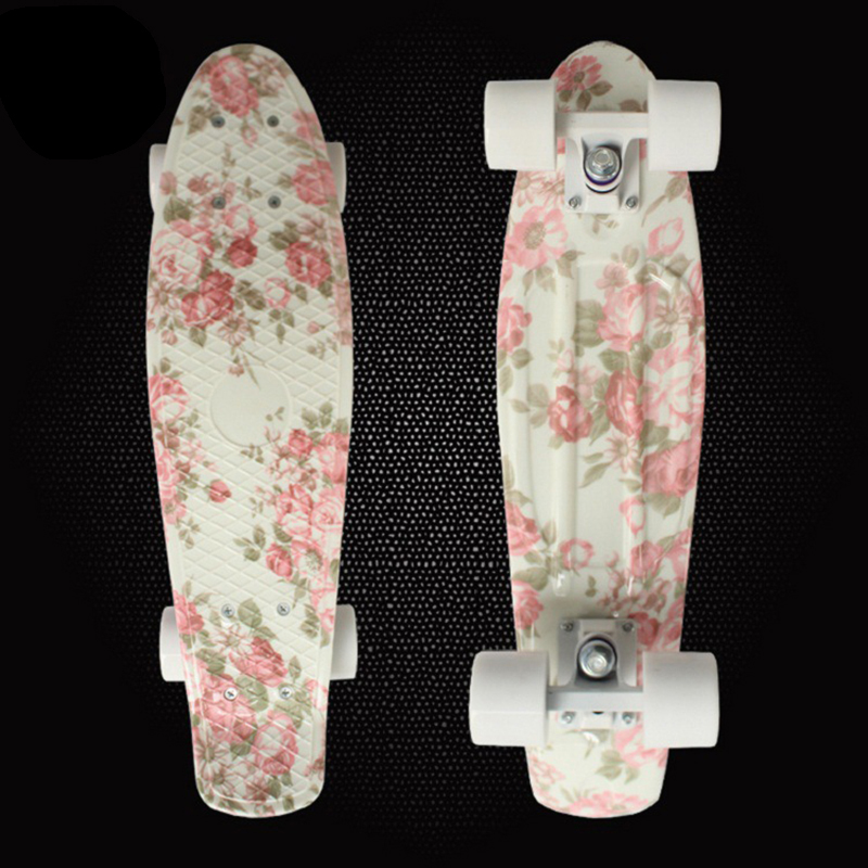 ФОТО Free Shipping Retro Skateboard Flowers Printed Mini Board for Outdoor Sport Street Fish board longboard skateboard PN09