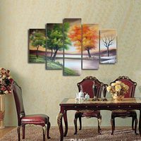 Seasons Tree Painting 100% Hand Painted Canvas Oil Painting Life Tree Paint 5 Pieces Art Wall Decor