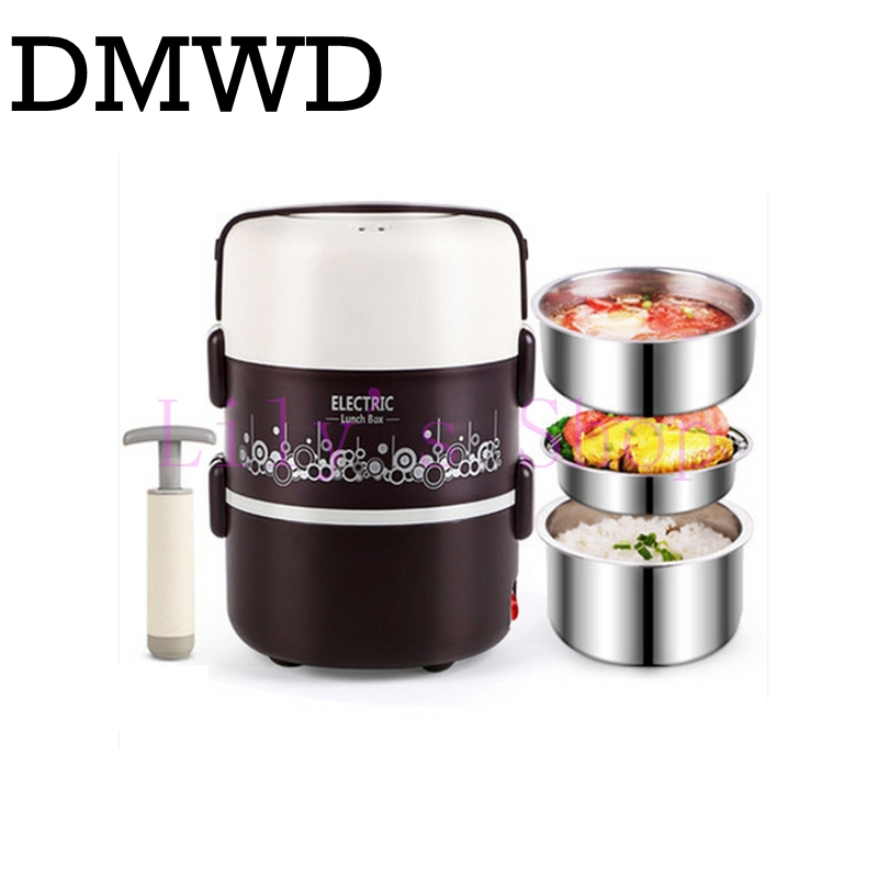 DMWD Electric heating lunch box Food Warmer lunchbox three layers meal vacuum insulation heat rice steamer stainless steel EU US 62 l large food and beverage car trunk bag refrigerator insulation families waterproof valiz hot lunch bag takeout box suitcase