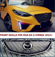 free shipment HIGH QUALITY CAR STYLE DIAMOND FRONT GRILL GRILLE FOR ATENZA MA6 2014+ Front Bumper Grille Grill of  ATENZA