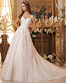 2016 Romance Amdml Mergulhando Profundo Decote Em V Correias A Linha de Vestidos de Casamento Apliques Tulle Saia Com Decote Em V Capela Trem Vestidos de Noiva